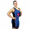 The Respond Women's Wrestling Singlet - Royal/Scarlet - X-Small